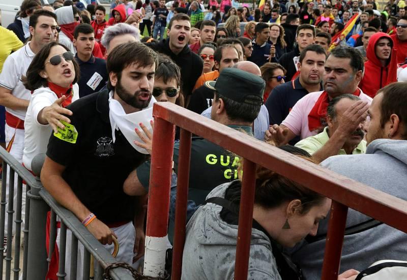 Revellers scuffle with animal rights activists before the start of the Toro de la Pena festival, formerly known as Toro de la Vega, in Tordesillas
