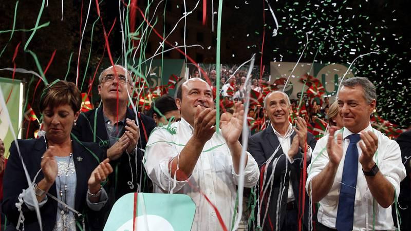 El actual lehendakari y candidato a la reelección por el PNV, Iñigo Urkullu, en el cierre de campaña electoral vasca