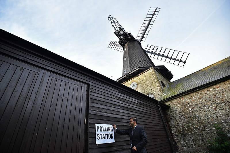 Lugar de voto en un molino cerca de Brighton, en el sur de Inglaterra
