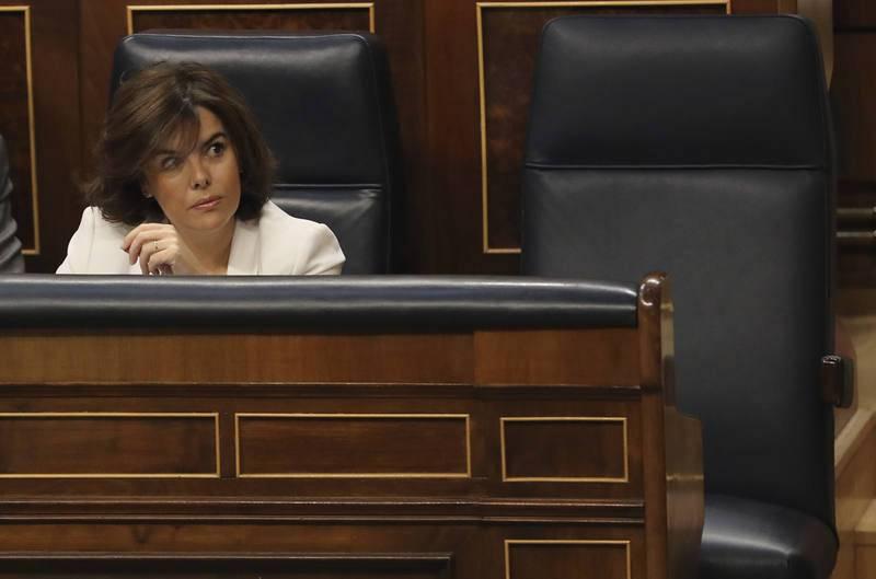 Soraya Sáenz de Santamaría, durante la segunda jornada del debate de la moción de censura