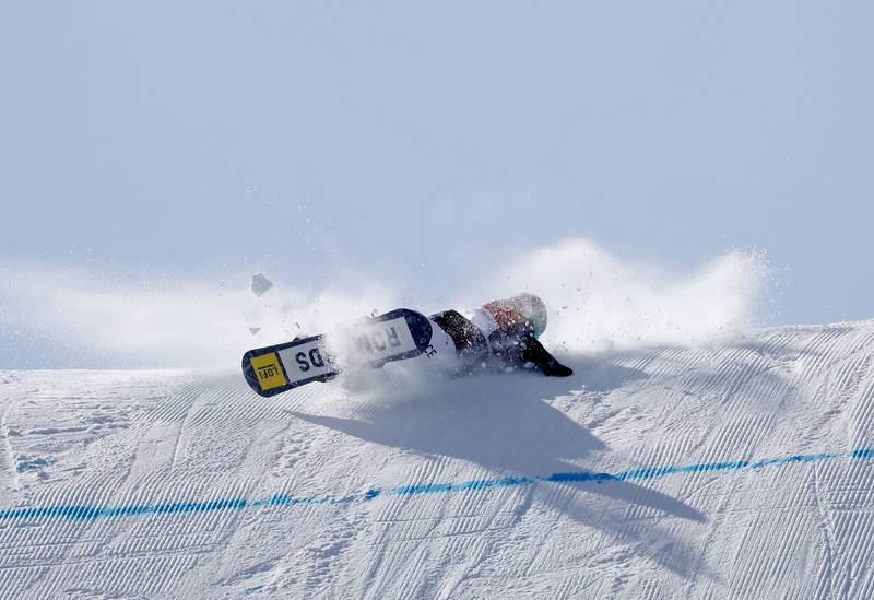 La francesa Lucile Lefevre, durante la caótica final de 'slopestyle', disputada entre fuertes rachas de viento.