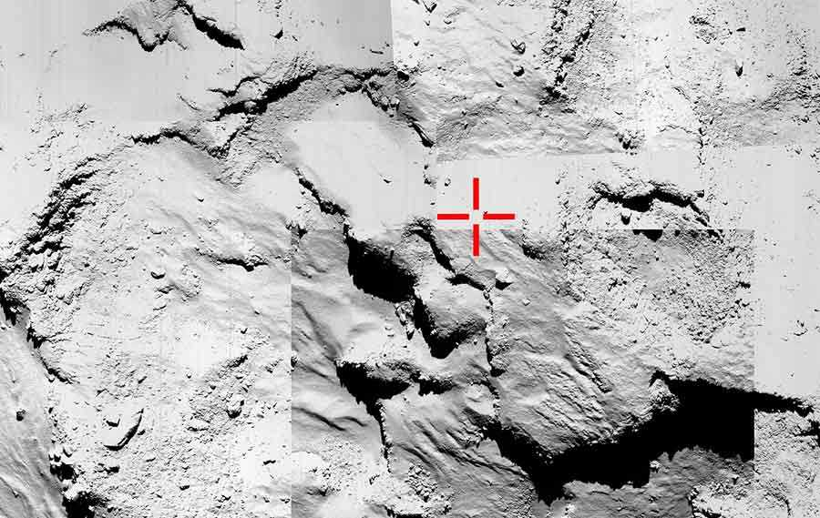 Zona del cometa en la que la ESA está buscando a Philae.