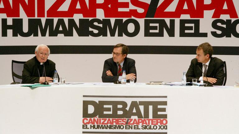 Abucheos a Zapatero en el debate con el cardenal Cañizares en la Universidad Católica de Ávila