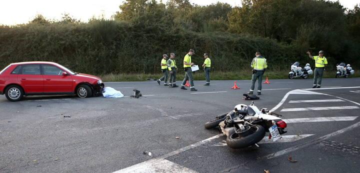 Accidente que ha costado la vida a un motorista en Pontevedra, el pasado sábado