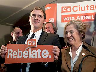 Albert Rivera celebra los tres escaños conseguidos en el Parlament