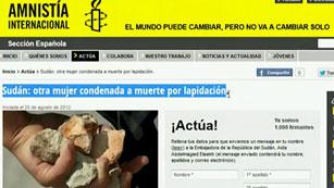 Amnistía Internacional comienza una campaña contra la lapidación de una mujer en Sudán