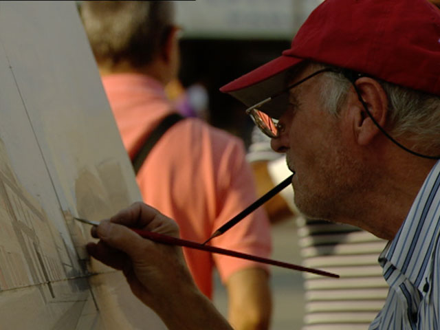 Antonio López pinta cada tarde en la Puerta del Sol