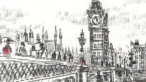 La artista británica Keira Rathbone dibuja sus obras con una máquina de escribir