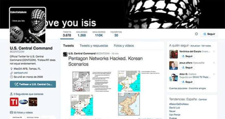 Así quedó la cuenta de Twitter del Centcom del Pentágono tras el supuesto ataque yihadista.