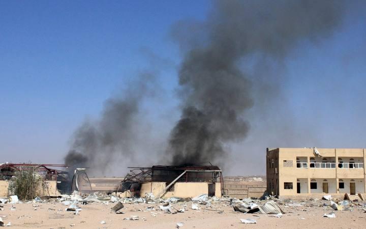 Ataque aéreo de la coalición en la ciudad de Saada, al noroeste de Yemen