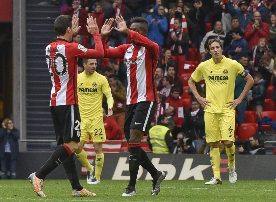El Athletic celebra el gol del empate, de Aduriz, frente al Villarreal.