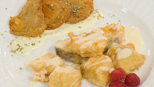 Bacalao a la miel con setas empanadas - Saber Cocinar