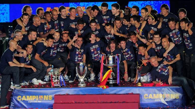 El Barça celebra la Copa del Rey