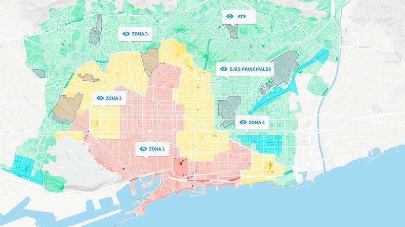 Barcelona ha dividido la ciudad en cuatro zonas para ordenar los alojamientos turísticos / Ayuntamiento de Barcelona