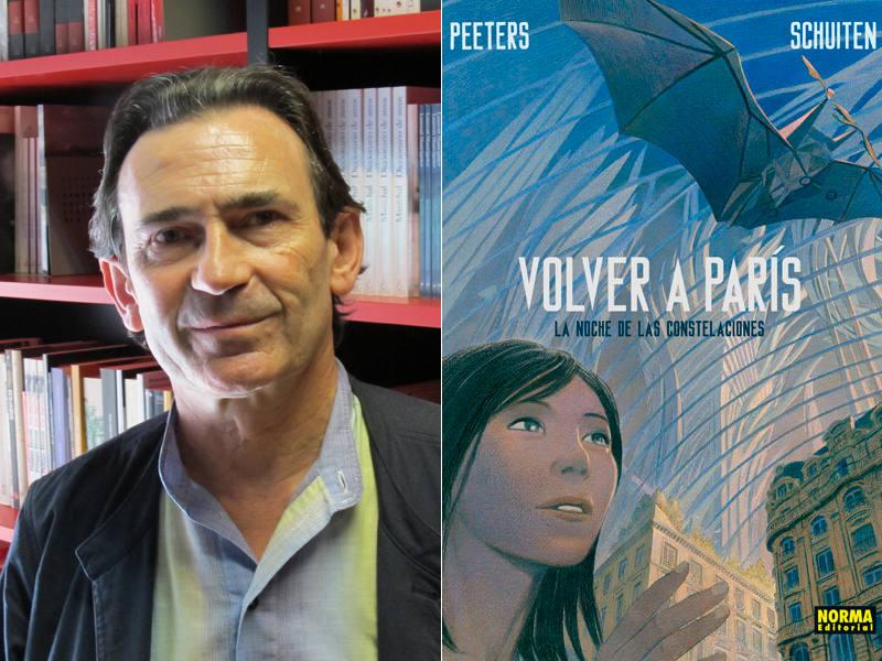Benoit Peeters y portada del segundo tomo de 'Volver a París'