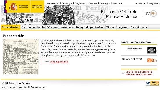 El Ministerio de Cultura pone en marcha la Biblioteca Virtual de Prensa Histórica