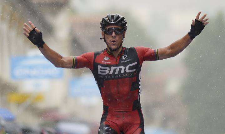 BMC Racing rider Gilbert of Belgium celebrates after winning the twelfth stage of the 98th Giro d'Italia cycling race