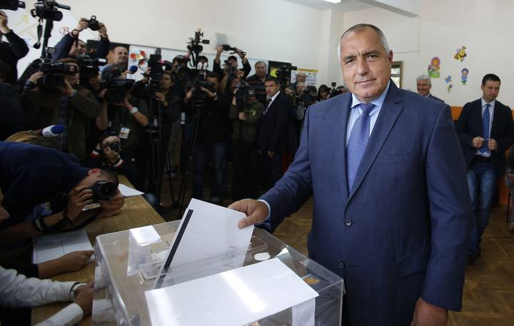 Boiko Borisov, leader of Bulgaria's centre right GERB party, casts his vote in Sofia