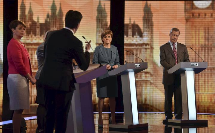 Britain's political leaders participate in a televised debate in London