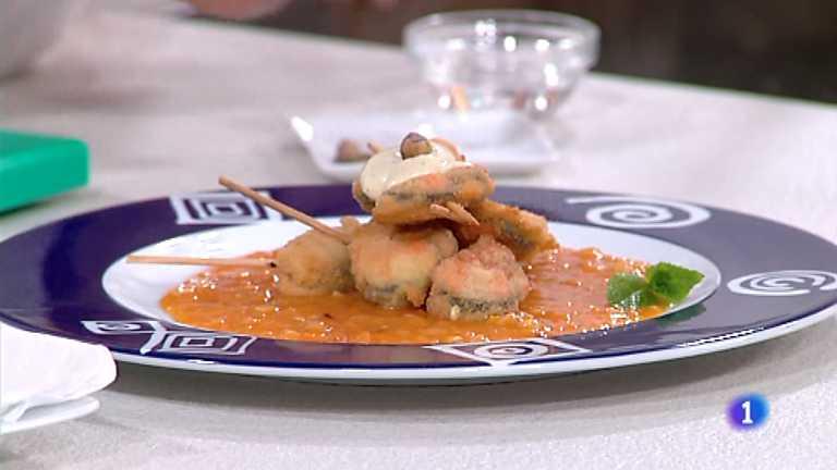Cocina con Sergio - Brochetas de mejillones empanados con alioli de pistachos