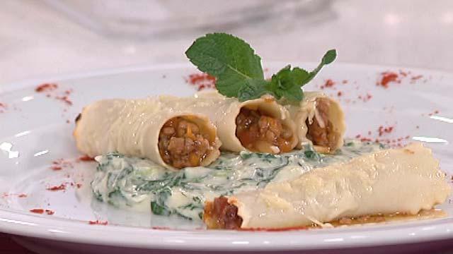 Saber cocinar - Canelones rellenos de ternera al jerez con espinacas a la crema
