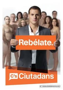 Ciutadans ha optado una vez más por desnudarse en su cartel electoral, aunque su candidato, Albert Rivera, aparece esta vez vestido