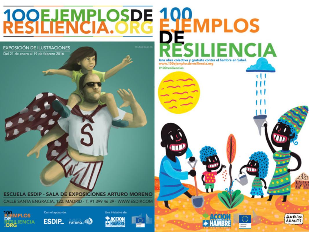 Cartel de la exposición y portada del libro '100 ejemplos de resilencia'
