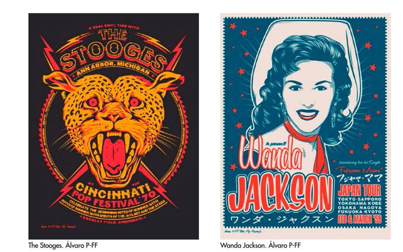 Carteles de The Stooges y Wanda Jackson