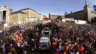 La celebración de España, a vista de 'bus'