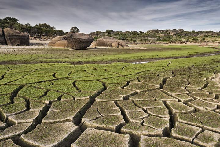 Una charca seca en Tenerife.