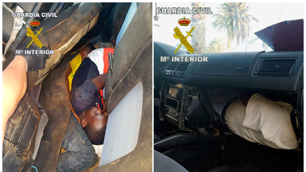 Cinco inmigrantes trataban de cruzar la frontera de Melilla ocultos en un coche