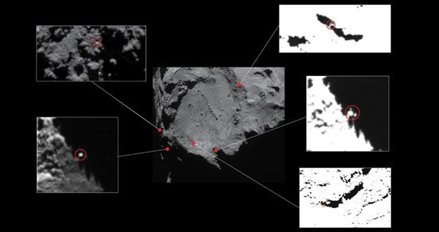 Las cinco localizaciones en el cometa 67P en las que la ESA cree que puede estar la sonda Philae.