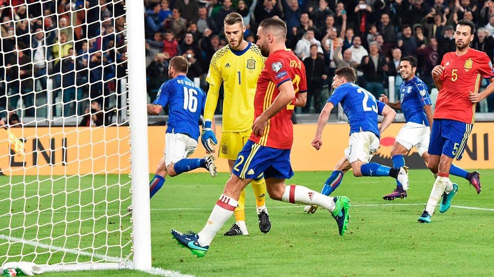 Clasificación Mundial 2018. Italia 1-1 España. Resumen