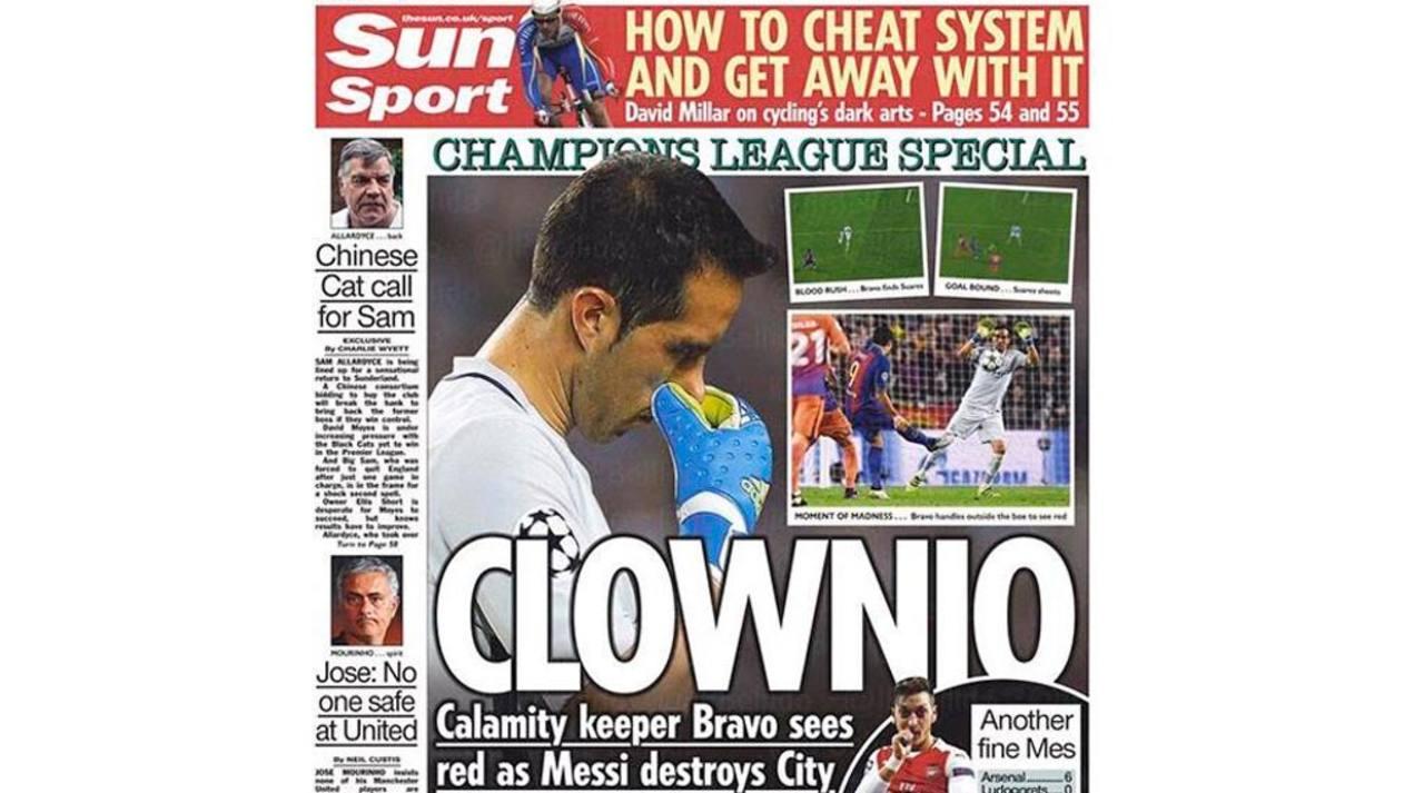 Claudio Bravo, en las portadas de la prensa británica