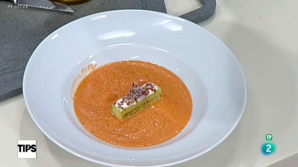 TIPS - La cocina de Sergio - Crema de sandia y yogur con jamón crujiente