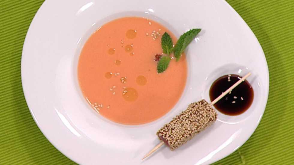 Cocina con sergio gazpacho de fres n con at n - Cocina con sergio pepa ...