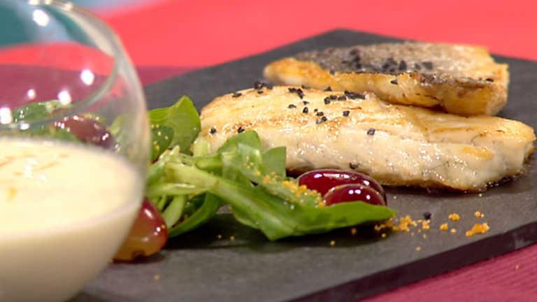 Receta de lubina a la plancha con ajoblanco de c tricos for La cocina de sergio