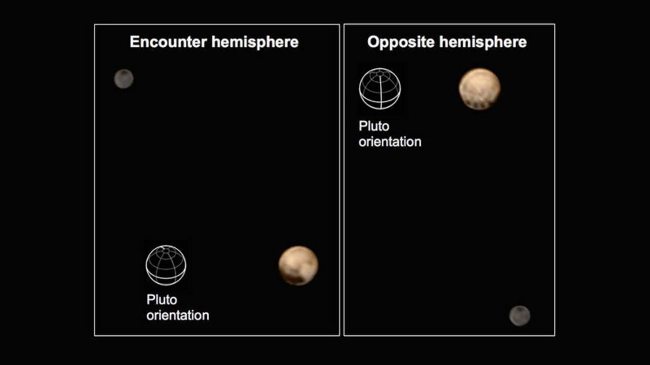 Combinación de las imágenes de Plutón y su luna más grande, Caronte.