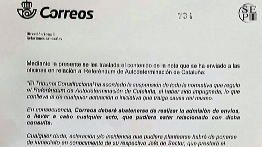 Correos no repartirá las cartas con las que el Govern convocará a los miembros de las mesas electorales para el referéndum