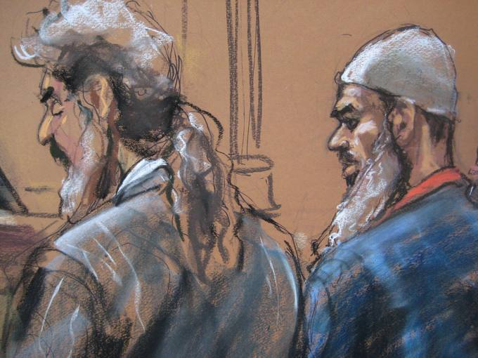 Courtroom sketch of Abu Ghaith, lawyer Cohen in New York