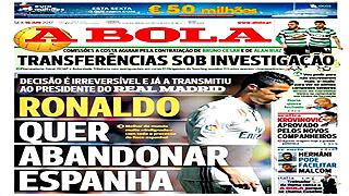 Cristiano Ronaldo quiere abandonar el Real Madrid, según 'A Bola'
