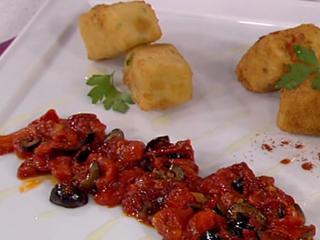 Saber cocinar - Croquetas de bacalao con pimientos y aceitunas