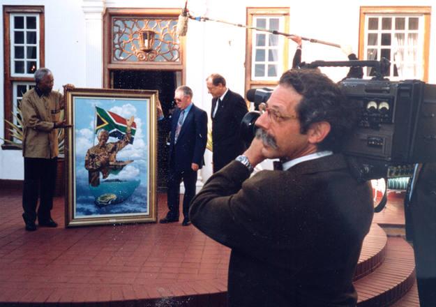Custodio con Nelson Mandela