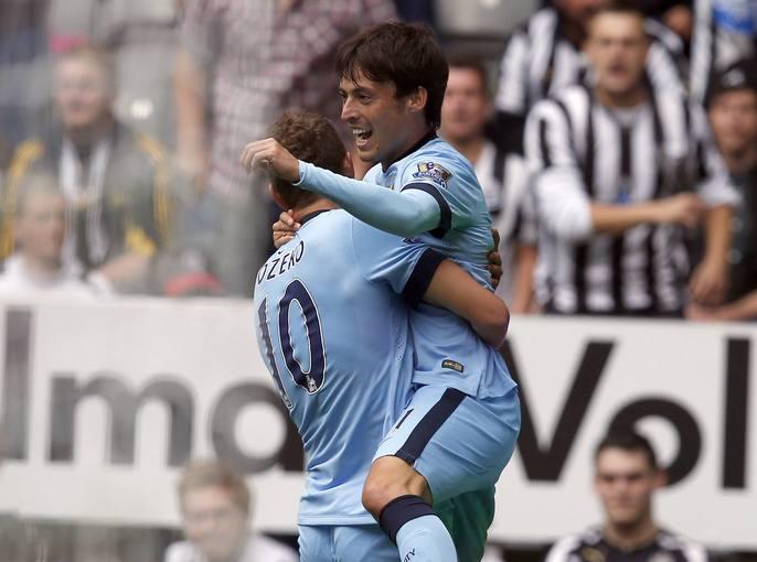 David Silva celebra su gol ante el Newcastle