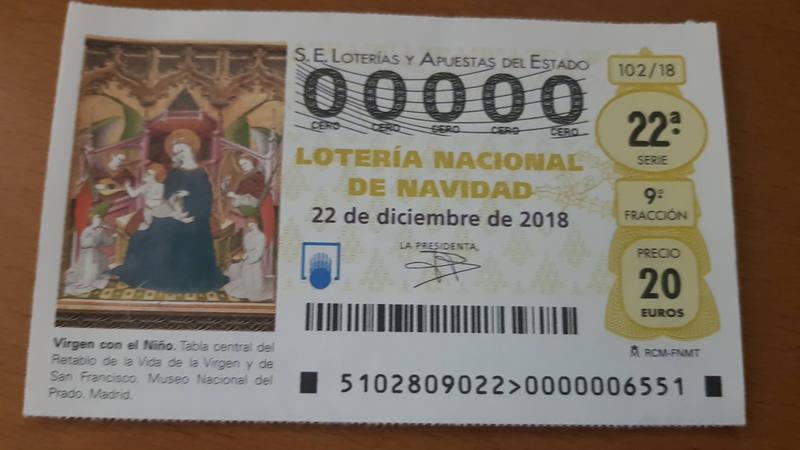 Décimo del 00000 para el sorteo extraordinario del 22 de diciembre de 2018