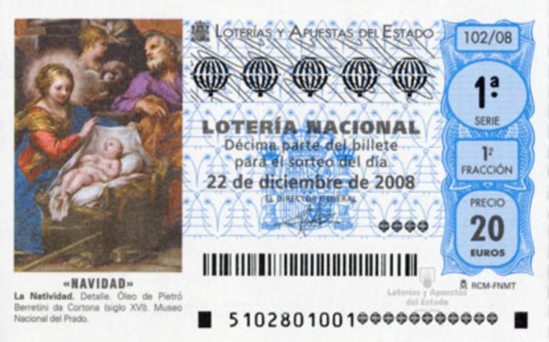 Decimo de Lotería de Navidad de 2008