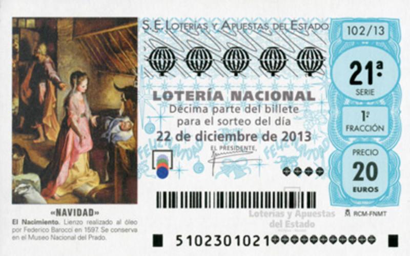 Decimo de Lotería de Navidad de 2013