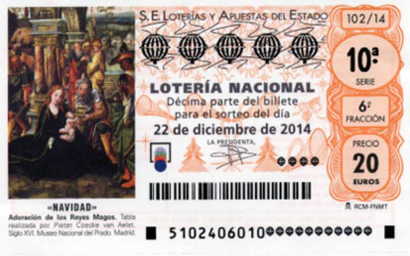 Decimo de Lotería de Navidad de 2014