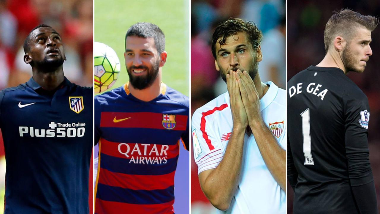El delantero colombiano Jackson Rodríguez (Atlético de Madrid), el turco Arda Turan (Barcelona), Fernando Llorente (Sevilla) y David De Gea (M. United).
