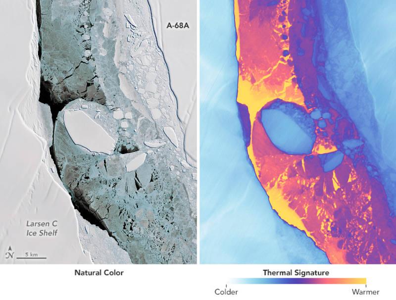 Detalle de la parte inferior del iceberg A68A, donde se ve otro más pequeño, sin nombre